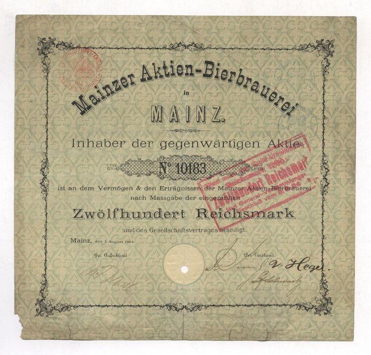 Aktien-Bierbrauerei MAINZ – Aktie, 1.200 Mark, 1. August 1904 – Auflage nur 250!