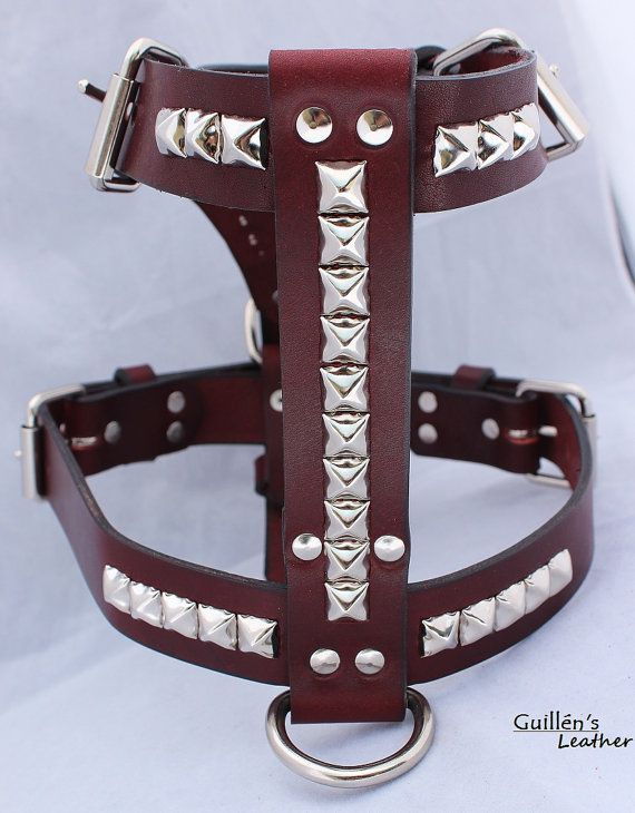 Burgundy Large Leather Dog Harness with by guillensleather on Etsy, $50.00