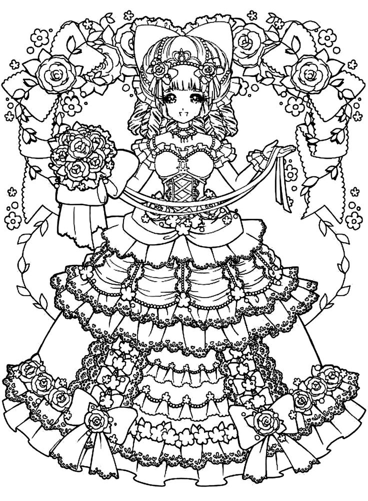 free coloring page coloring adult back to childhood manga girl