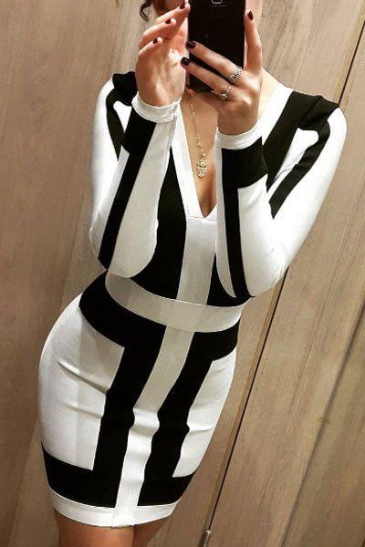 Chicloth Black and White Graphic Print Bandage Dress
