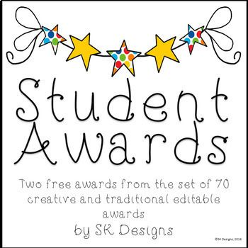This product includes 2 samples from a collection of 70+ different student awards available in the SK Designs TpT store. The collection includes traditional and creative awards that recognize the wide variety of gifts and talents students bring to a classroom.
