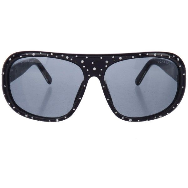 Pre-owned Chanel Strass Aviator Sunglasses (390 BRL) ❤ liked on Polyvore featuring accessories, eyewear, sunglasses, blue, chanel sunglasses, logo sunglasses, chanel eyewear, blue aviator sunglasses and blue sunglasses