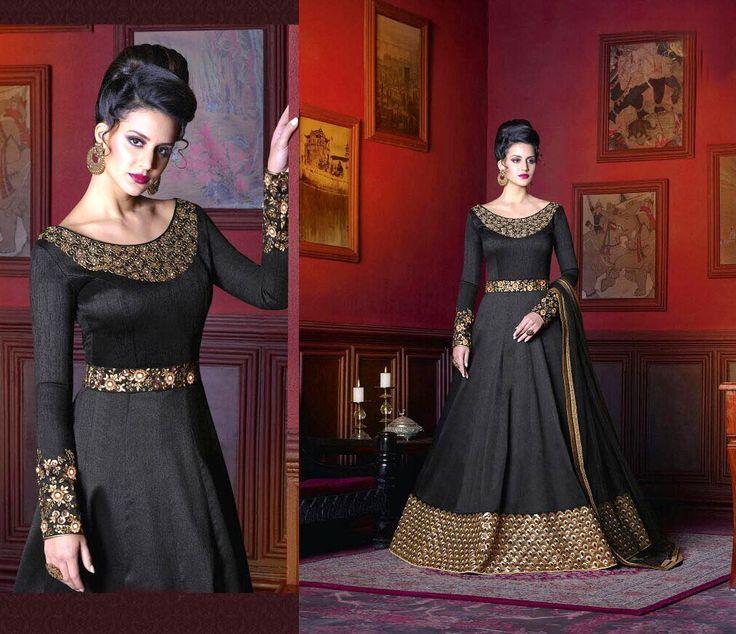 Indian wedding long abaya style black anarkali gown dress