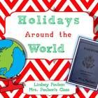 Students create a passport page and craft for 6 countries' holidays: Kwanzaa, St. Nicholas' Day, Hahuhhak, St. Lucia Day, Las Posadas, and Christmas!