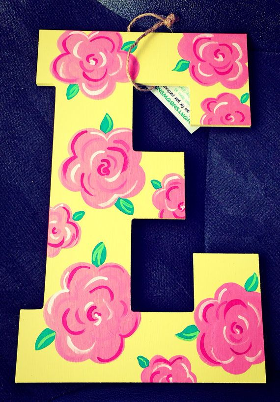 """Hand painted letter 13"""" on Etsy, $17.00"""