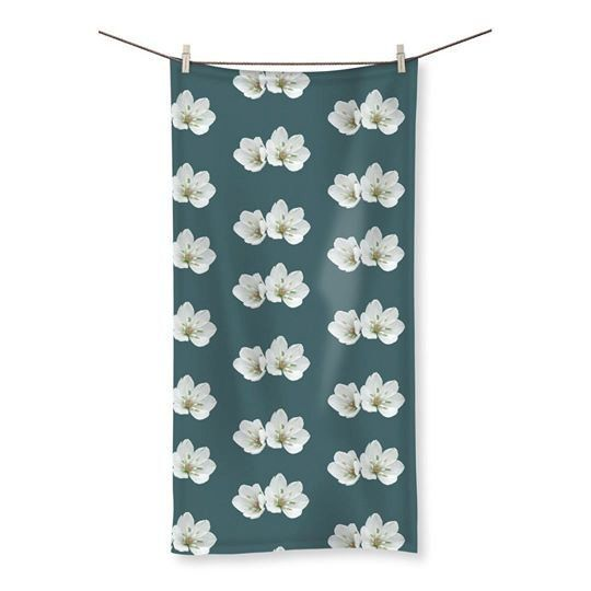 Teal beach towel floral bath towel ships from UK white flowers towel size small medium large bathroom linen soft furnishings new home gift by ChihuahuaShower on Etsy