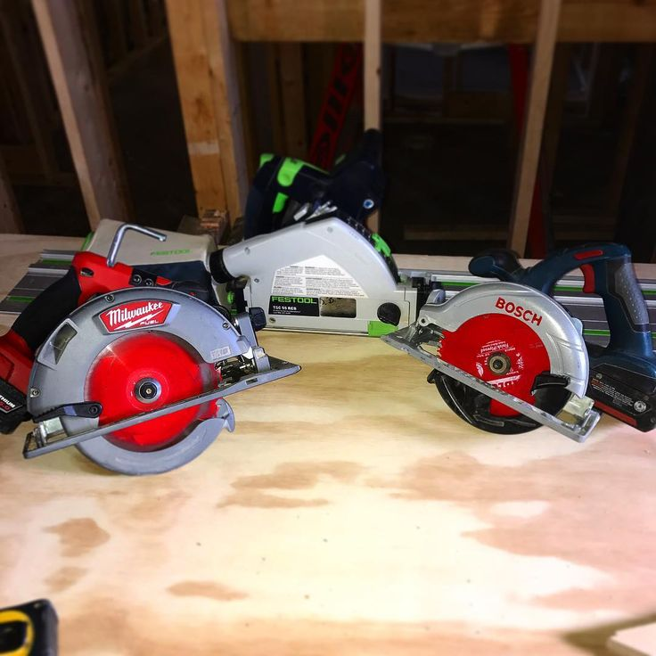 Running all 3 of these cordless circular saws today. All have a specific purpose. Track saw for cutting clean lines that butt up to another piece of plywood. The fuel for framing and the Bosch for smaller cross cuts and notches on the plywood.             #Carpenter #carpentry #construction #contractor #woodworker #powertools #tools #tool #cincinnati #woodworking #design #craftman #plywood #wood #home #builder #constructionworker #trade #joinery #keepcraftalive #teamacme #framer #framing…