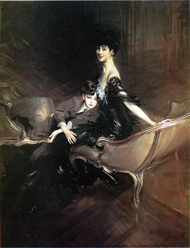 Giovanni Boldini >> Consuelo, Duchess of Marlborough, with Her Son Ivor Spencer-Churchill  |  (Oil, artwork, reproduction, copy, painting).