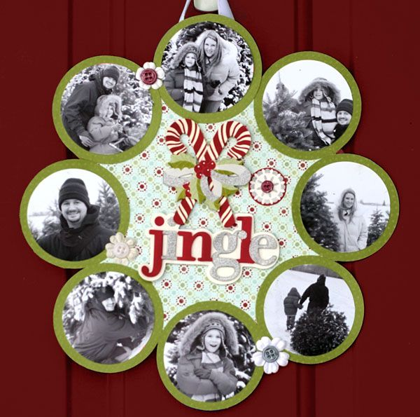 Great idea for a page of Christmas card photos layout!