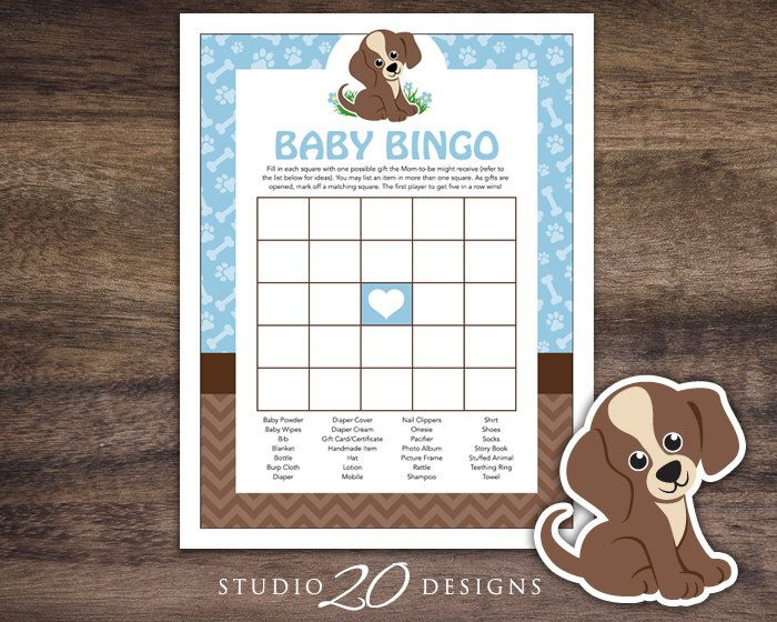 Instant Download Puppy Baby Shower Bingo Cards, Printable Blue Brown Dog Baby Bingo, Puppy Theme Baby Shower Game 71A by Studio20Designs on Etsy https://www.etsy.com/listing/229616141/instant-download-puppy-baby-shower-bingo