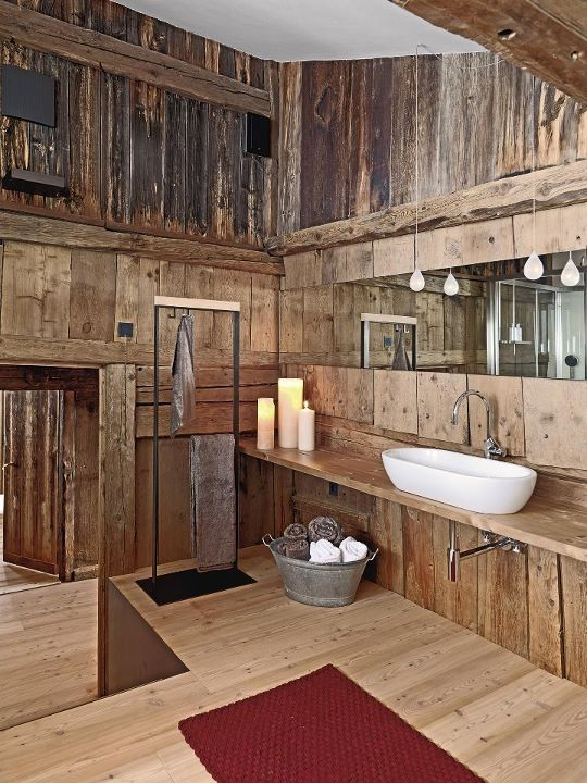 39 Fantastic Rustic Bathroom Designs: 39 Fantastic Rustic Bathroom Designs  With White Wash Basin Mirror Lamp Candle Towel Red Carpet And Wooden Wall  Ceiling ...