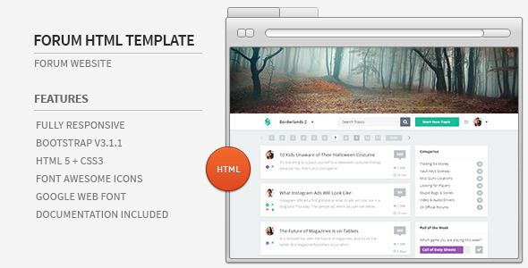 Forum Website HTML Template . Forum has features such as High Resolution: Yes, Compatible Browsers: IE9, IE10, IE11, Firefox, Safari, Opera, Chrome, Columns: 4+