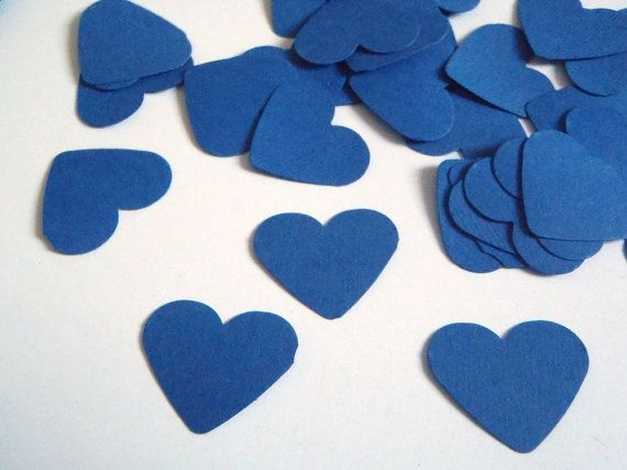 """blue hearts confetti wedding baby shower bar mitzvah 1"""" table decoration garland guest book baby party favor cupcake topper lasoffittadiste"""