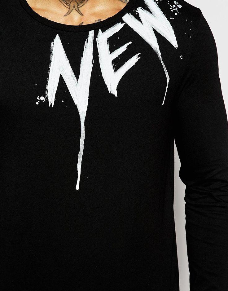"""Immagine 3 di ASOS - Maglia a maniche lunghe con scritta """"New York"""" sul carré"""