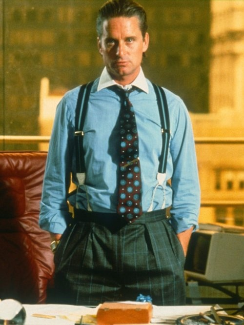 80s big money, power clothes.  Michael Douglas in Wall Street.