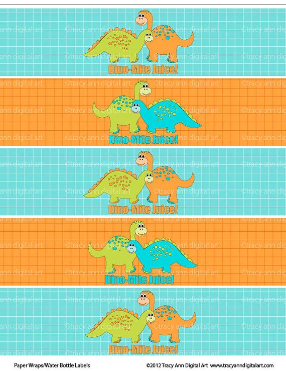 Dinosaur Printable Water Bottle Wraps  Paper by TracyAnnPrintables, $4.00