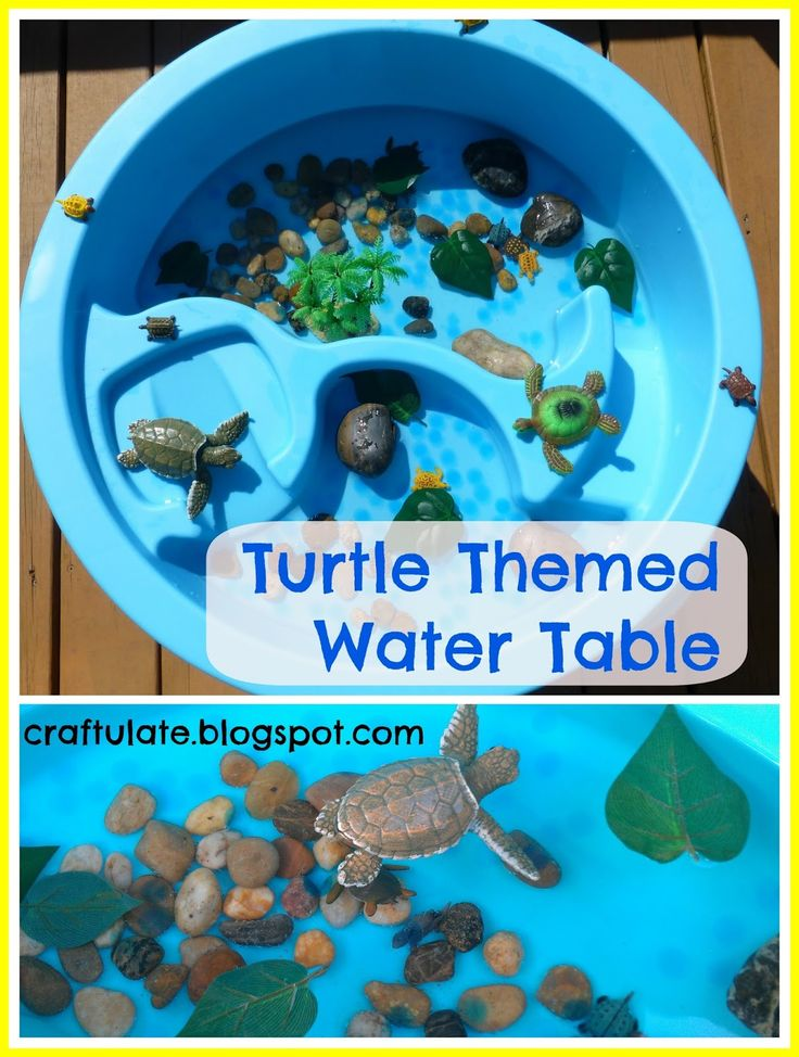 When we were at a friend's house recently we saw some turtles swimming in their nearby river, and then a few days later we saw some more turtles at our local nature museum. With the end of summer in sight I thought it was about time for another themed water table!    The components of this water table were as follows:  Rocks and pebbles (from Dollar Store) Water beads Large plastic toy turtle 12 small plastic toy turtles Plastic leaves Mega Grow turtle Pull-string swimming turtle toy Plastic…