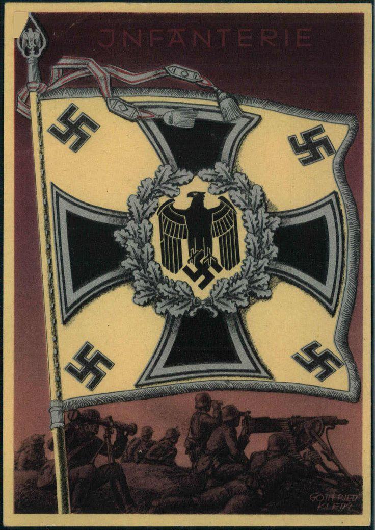 """Die Siegreichen Fahnen und Standarten der Deutschen Wehrmacht - Karte 6 """"INFANTERIE"""" um 1940"""