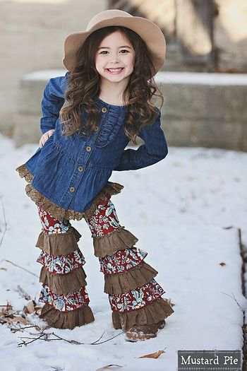 Mustard Pie Fiona Ruffle Pants for Girls PREORDER