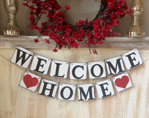 Welcome Home, Welcome Home bannière, agent immobilier pendaison de crémaillère, bannière de retour aux sources, agent immobilier nouveau maison cadeau, cadeau de Bienvenue chez vous, Bienvenue nouveau signe maison