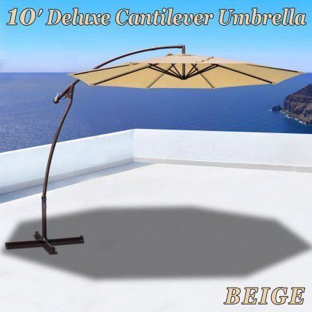 Strong Camel 10' Cantilever Patio Umbrella Garden Outdoor Sunshade Hanging Market-Beige, Beige