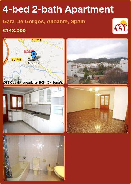 4-bed 2-bath Apartment in Gata De Gorgos, Alicante, Spain ►€143,000 #PropertyForSaleInSpain