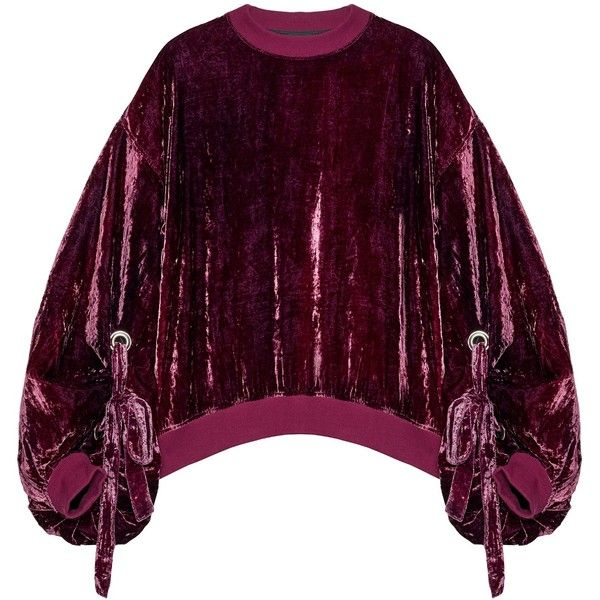 Y/Project Sweatshirt (3120685 PYG) ❤ liked on Polyvore featuring tops, hoodies, sweatshirts, purple sweatshirt, asymmetrical tops, special occasion tops, cocktail tops and velvet sweatshirt