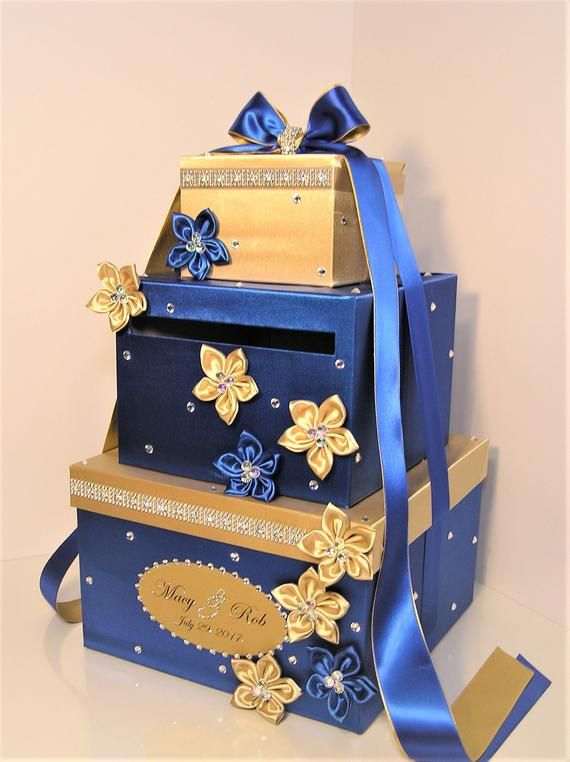 Wedding Card Box Royal Blue And Gold Gift Card Box Money Box Holder