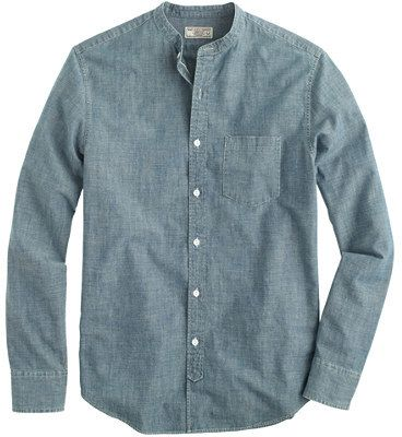 $118, Wallace Barnes Band Collar Japanese Selvedge Chambray Shirt by J.Crew. Sold by J.Crew. Click for more info: http://lookastic.com/men/shop_items/99253/redirect