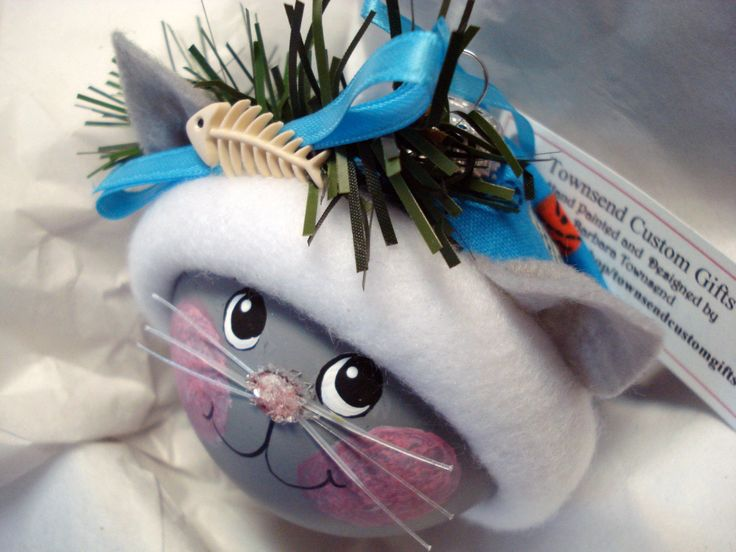 GRAY CAT Christmas Ornament Hand Painted by TownsendCustomGifts