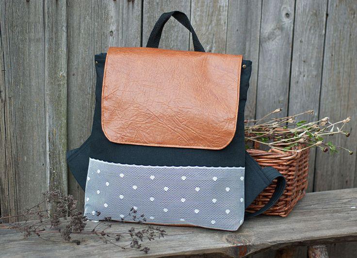 Купить Рюкзак с кружевной вставкой - черный, однотонный, рюкзак, в горошек, рюкзак ручной работы