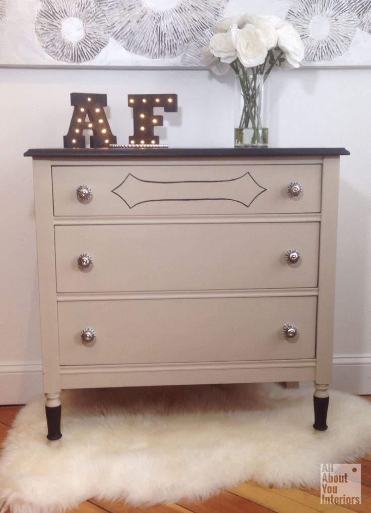 Refreshed dresser using Couture Linen...one of the 6 new fun colours in the Amanda Forrest Collection for The FAT Paint Company. #AFxFAT