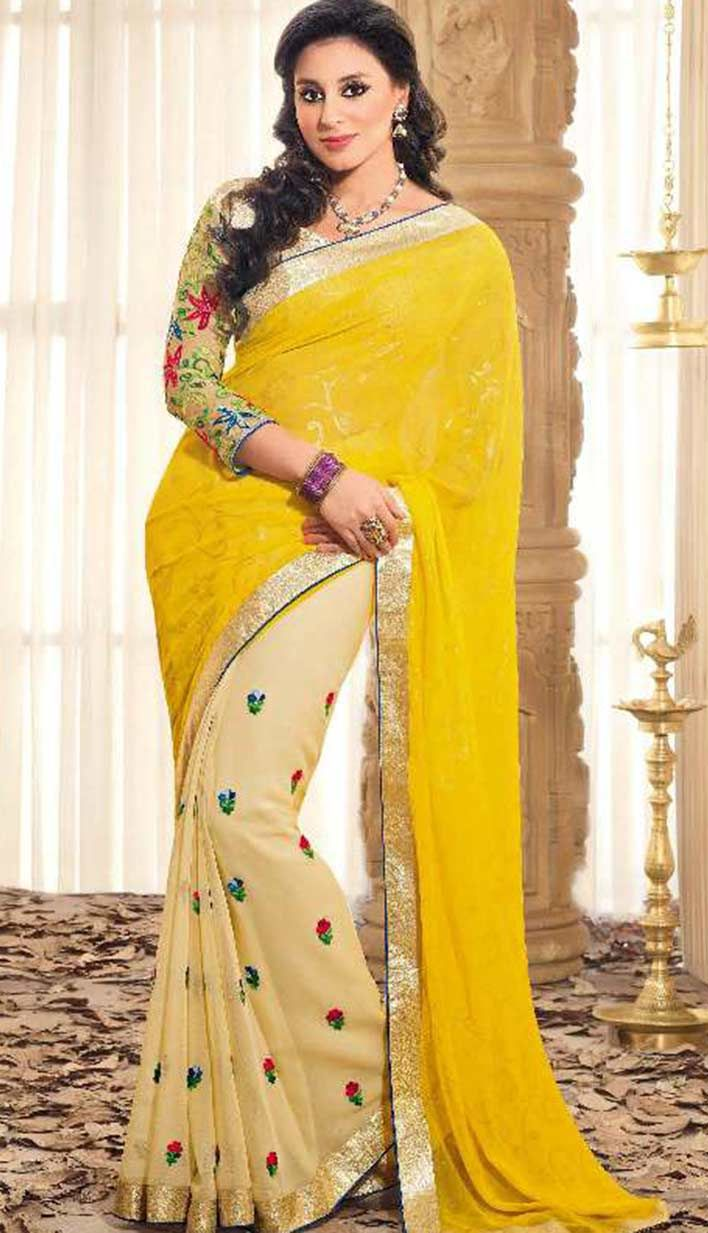 Indian Festival Wear Yellow Georgette Casual Saree