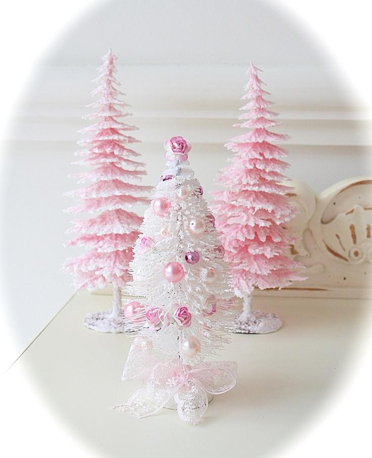 Shabby pink bottle brush trees