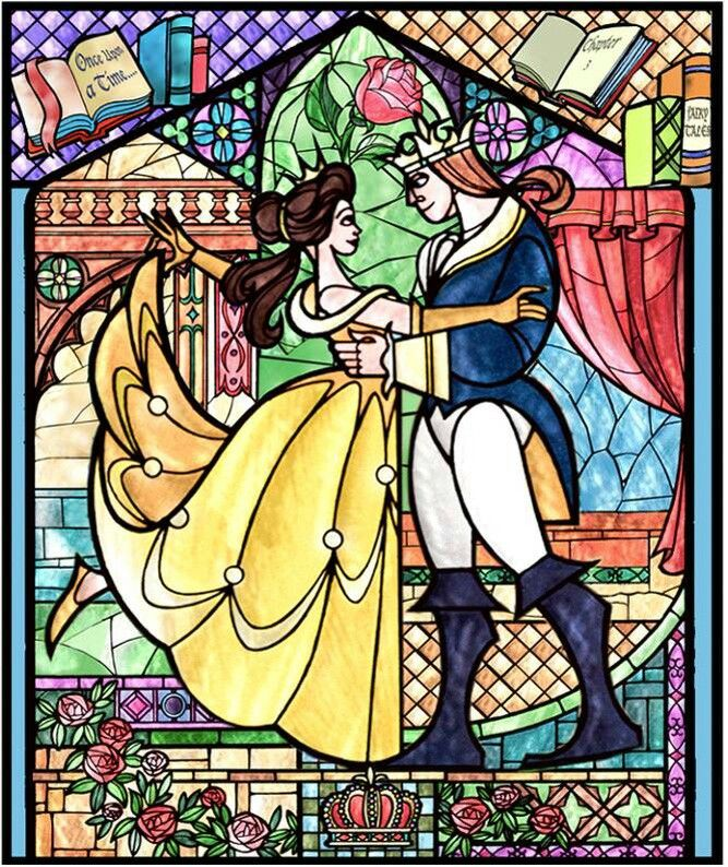 Beauty and the Beast stained glass   happy thoughts ...