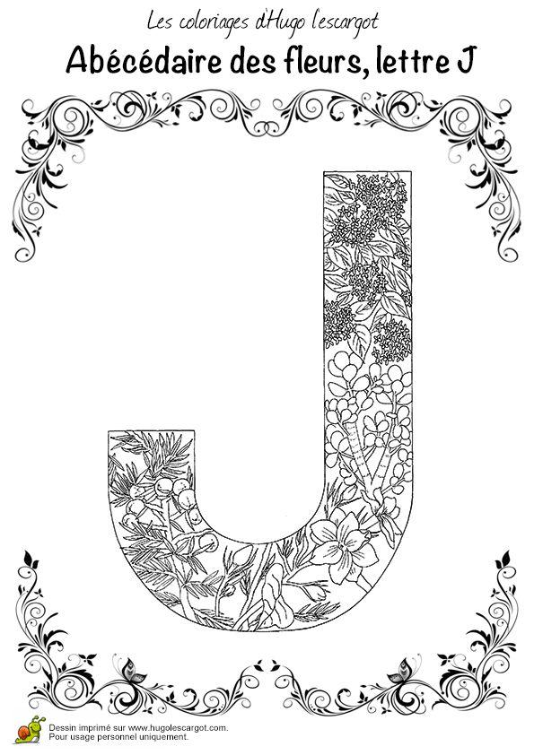 Coloriage abecedaire belles fleurs lettre j beautiful flowers alphabet coloring page letter - Lettre disney ...