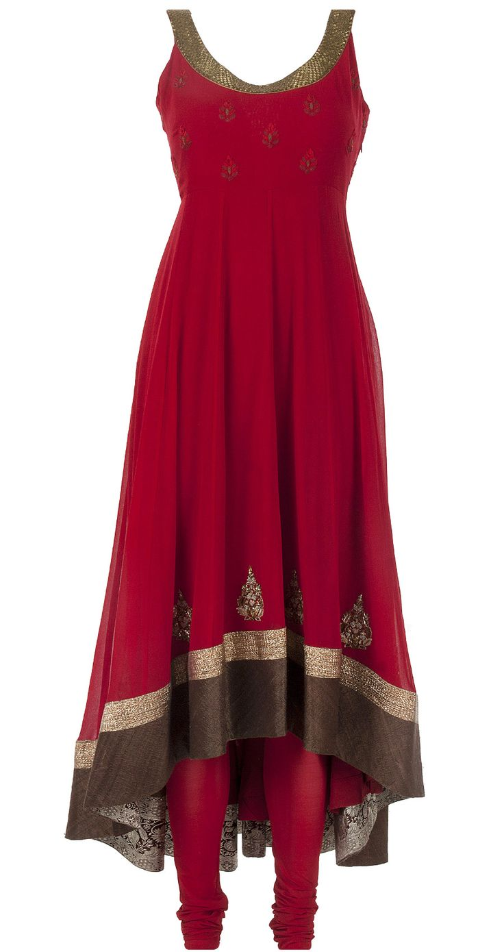 Featuring a deep red georgette high and low hem kurta with dabka embroidery on the neckline. It features red booties on the yoke and a wide raw silk and gota border. It comes along with a matching dupatta sprinkled with gold sequins an a lycra churidar. - ANJU MODI