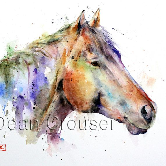 Colorful HORSE Watercolor Print by Dean Crouser by DeanCrouserArt, $25.00