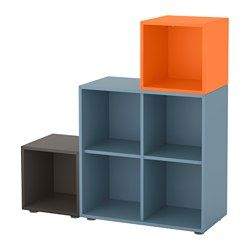 EKET Combinaison rangement avec pieds - bleu clair/gris foncé/orange - IKEA