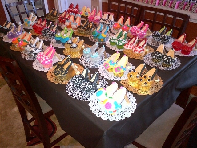 High Heel Cupcakes. I love the set up!