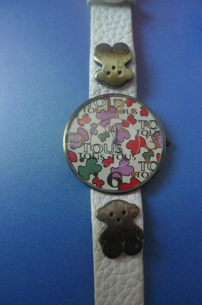 Vintage TOUS Wrist Watch Genuine Leather Band Bear Water Resistant Stainless Ste #Tous