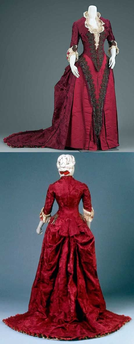 Reception or dinner dress, Charles Frederick Worth, circa 1883. Silk damask, satin, and plain weave (taffeta), trimmed with glass beads and metallic yarn gimp, with silk fringe and machine-made lace.