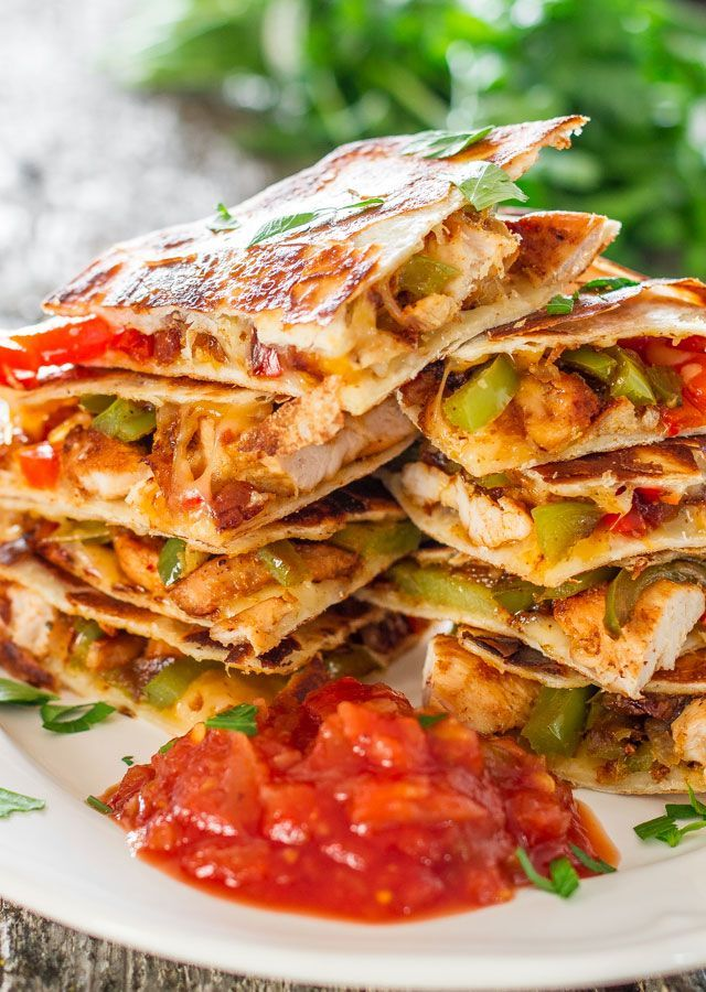 Chicken Fajita Quesadillas - sauteed onions, red and green peppers ...