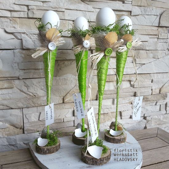 this idea would be super in any glass vase or glass, use imagination for top with any color egg, chick, rabbit, etc...This says:  Ostern