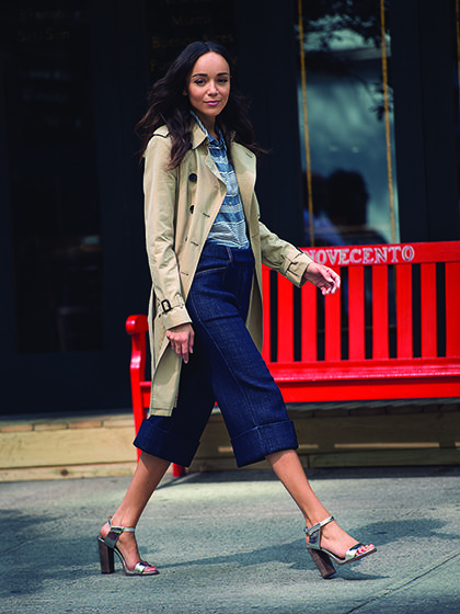 5 Ways to Style Culottes According to Actress Ashley Madekwe: Fall's new culottes are crisp, tailored, and nothing like a skort. Actress Ashley Madekwe shows us how to wear them well. | allure.com