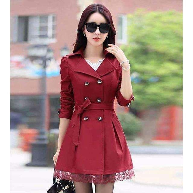 Sexy Slim Double Breasted Lace Hem Trench Coat