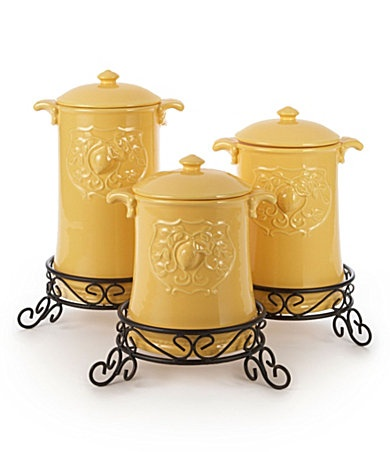Yellow Kitchen Canisters In Black Stands By American Atelier At Dillards