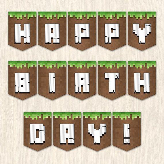 Minecraft Birthday Banner. All Abc Letters In Minecraft