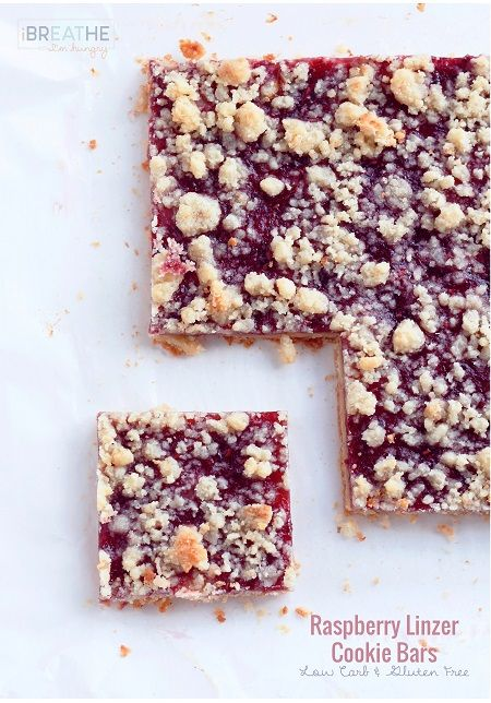 LOW CARB RASPBERRY LINZER COOKIE BARS - GLUTEN FREE