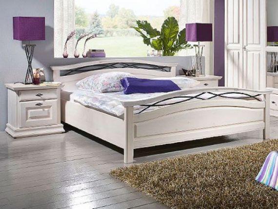 Masivní postel Adana lakovaná borovice bílá
